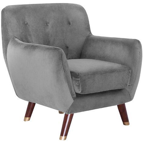 Modern Velvet Armchair Grey Tufted Backrest Solid Wood Legs Bodo