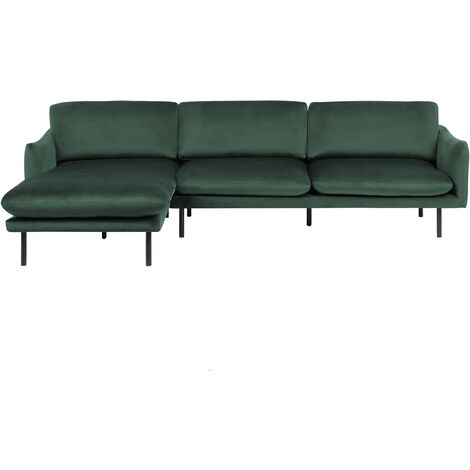 Modern Velvet Corner Sofa Green Fabric Cushion Seat Back Black Legs Vinterbro