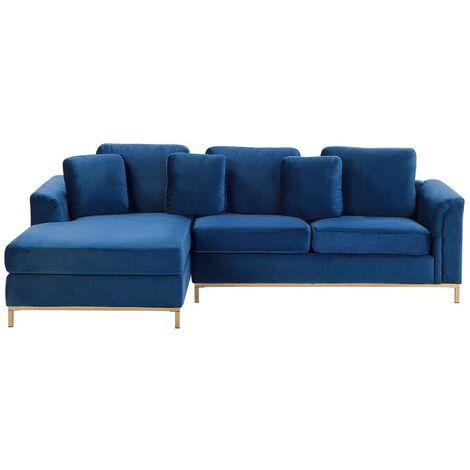 Modern Velvet Couch Corner Sofa Gold Legs Right Hand Navy Blue Oslo