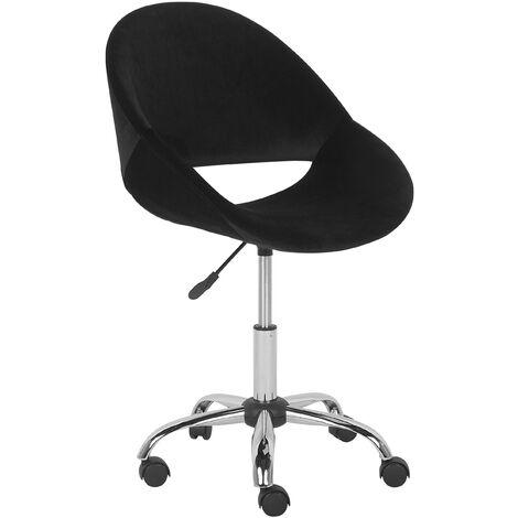 Modern Velvet Desk Chair Black Fabric Swivel Adjustable Armless Office Selma