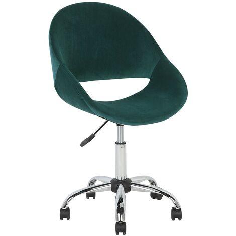 Modern Velvet Desk Chair Green Fabric Swivel Adjustable Armless Office Selma