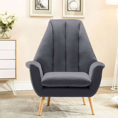 Modern Velvet High Wing Accent Chair Bedroom Living Room Armchair Occasional Chair with Solid Wooded Legs (Grey)