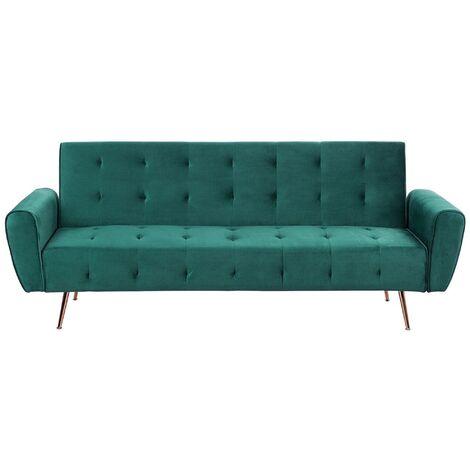 Modern Velvet Sofa Bed Green Convertible Sleeper Tufted Metal Copper Legs Selnes
