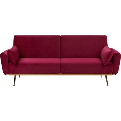 Modern Velvet Sofa Bed Metal Legs Convertible Sleeper Dark Red Eina