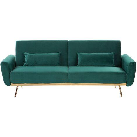 Modern Velvet Sofa Bed Metal Legs Convertible Sleeper Green Copper Eina