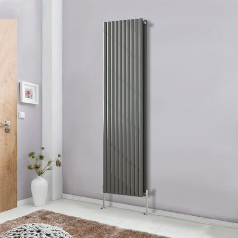 Modern Vertical Anthracite 1800x590 Radiator Designer Oval Column Double Panel Bathroom Central Heating