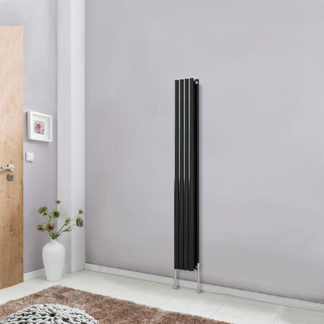 Modern Vertical Column Designer Radiator Black 1600x236 Oval Double Panel - Home Livingroom Bedroom Bathroom Heater