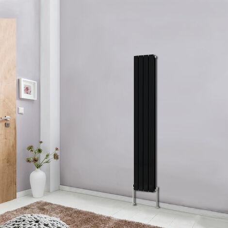 Modern Vertical Column Designer Radiator Black 1600x272 Flat Double Panel - Home Livingroom Bedroom Bathroom Heater