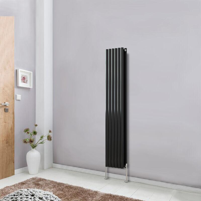 modern vertical column designer radiator black 1600x354
