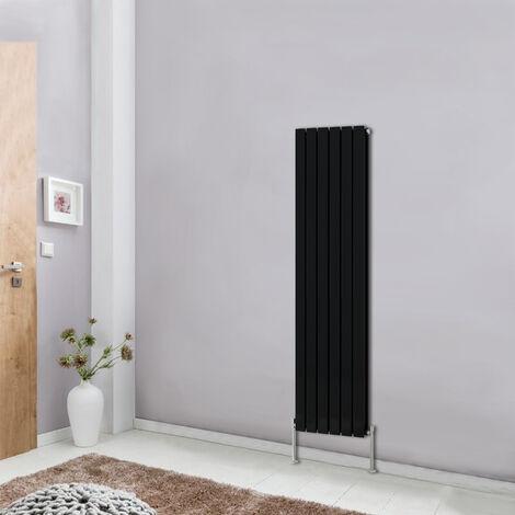 Modern Vertical Column Designer Radiator Black 1600x408 Flat Double Panel - Home Livingroom Bedroom Bathroom Heater