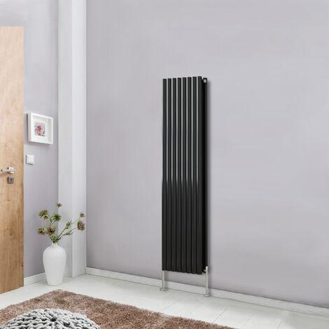 Modern Vertical Column Designer Radiator Black 1600x472 Oval Double Panel - Home Livingroom Bedroom Bathroom Heater