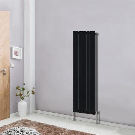 Modern Vertical Column Designer Radiator Black 1600x544 Flat Single Panel - Home Livingroom Bedroom Bathroom Heater