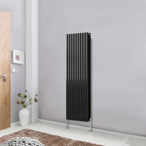 Modern Vertical Column Designer Radiator Black 1600x590 Oval Double Panel - Home Livingroom Bedroom Bathroom Heater