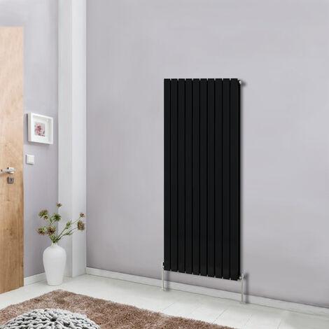 Modern Vertical Column Designer Radiator Black 1600x680 flat Double Panel - Home Livingroom Bedroom Bathroom Heater