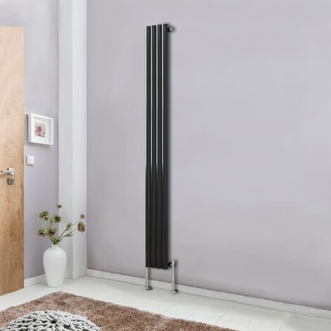 Modern Vertical Column Designer Radiator Black 1800x236 Oval Single Panel - Home Livingroom Bedroom Bathroom Heater