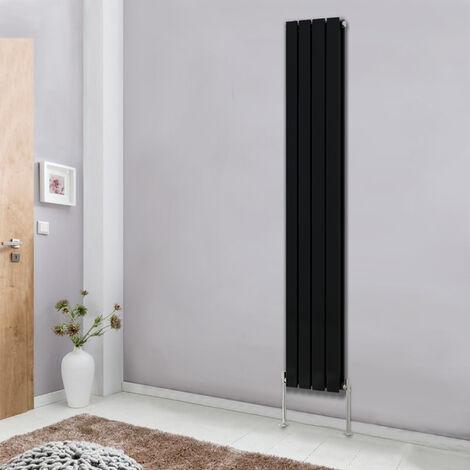 Modern Vertical Column Designer Radiator Black 1800x272 Flat Double Panel - Home Livingroom Bedroom Bathroom Heater