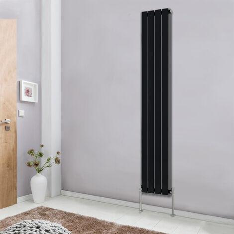 Modern Vertical Column Designer Radiator Black 1800x272 Flat Single Panel - Home Livingroom Bedroom Bathroom Heater