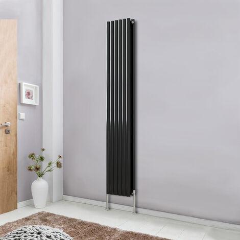 Modern Vertical Column Designer Radiator Black 1800x354 Oval Double Panel - Home Livingroom Bedroom Bathroom Heater