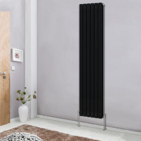 Modern Vertical Column Designer Radiator Black 1800x408 Flat Double Panel - Home Livingroom Bedroom Bathroom Heater