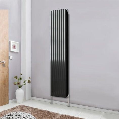 Modern Vertical Column Designer Radiator Black 1800x472 Oval Double Panel - Home Livingroom Bedroom Bathroom Heater