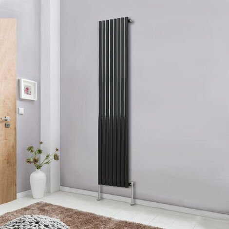 Modern Vertical Column Designer Radiator Black 1800x472 Oval Single Panel - Home Livingroom Bedroom Bathroom Heater