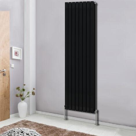 Modern Vertical Column Designer Radiator Black 1800x544 Flat Double Panel - Home Livingroom Bedroom Bathroom Heater