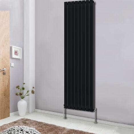 Modern Vertical Column Designer Radiator Black 1800x544 Flat Single Panel - Home Livingroom Bedroom Bathroom Heater