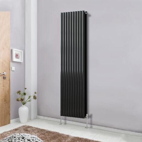 Modern Vertical Column Designer Radiator Black 1800x590 Oval Double Panel - Home Livingroom Bedroom Bathroom Heater