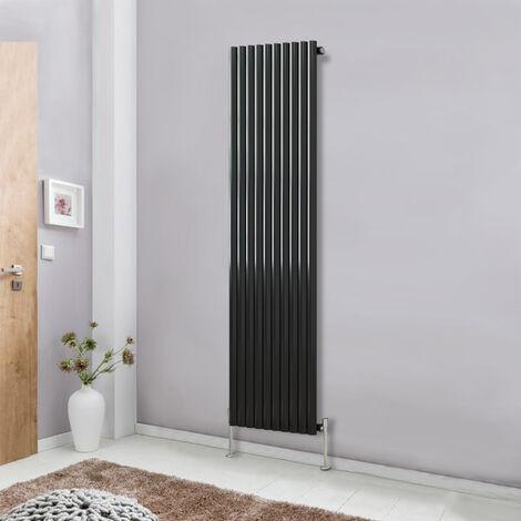 Modern Vertical Column Designer Radiator Black 1800x590 Oval Single Panel - Home Livingroom Bedroom Bathroom Heater