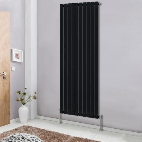 Modern Vertical Column Designer Radiator Black 1800x680 flat Single Panel - Home Livingroom Bedroom Bathroom Heater