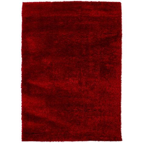 Modern Very Soft Velvet Shaggy Red Rug Deep Pile Home Carpet