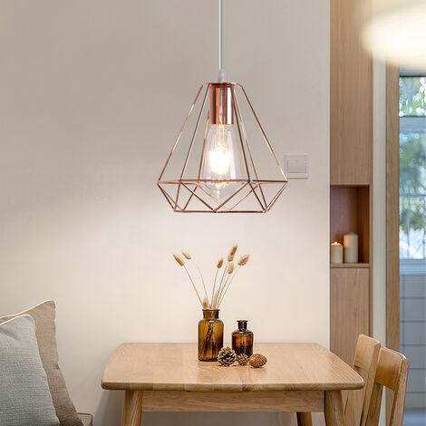 Modern Vintage Hanging Light 20cm Diamond Chandelier Retro Industrial Pendant Light Height Adjustable Pendant Lamp for Living Room Dining Bar Office Rose Gold