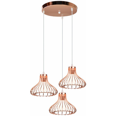 "main image of ""Modern Vintage Pendant Light Creative Ceiling Light 3 Lights Industrial Pendant Lamp for Living Room Dining Room Bar Balcony Rose Gold E27"""