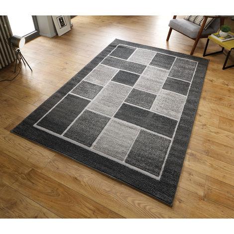 Modern Visiona Soft Handcarved Contemporary Geometric Shape Design 4304 Grey Rug