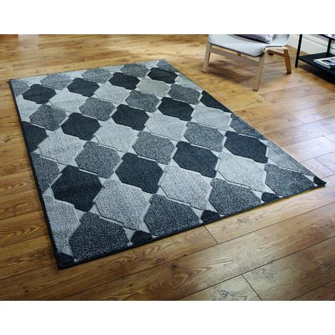 Modern Visiona Soft Handcarved Contemporary Geometric Shape Design Convex Grey Rug