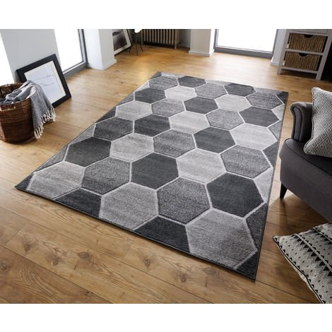 Modern Visiona Soft Handcarved Contemporary Geometric Shape Design Hive Grey Rug