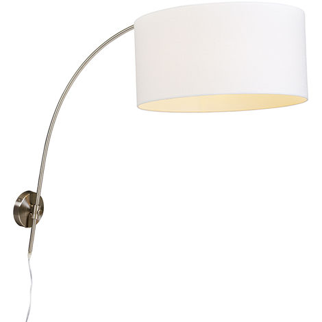 Modern wall arc lamp steel with white shade 50/50/25 adjustable