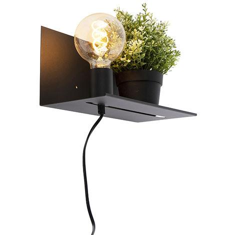 Modern wall lamp black adjustable - Muro