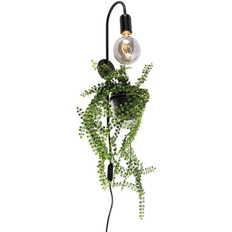 Modern wall lamp black incl. Cord with plug - Roslina
