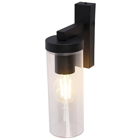 Modern wall lamp black IP44 - Jara