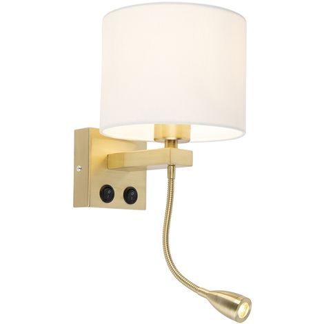 Modern Wall Lamp Brescia Gold with Shade 18/18/14 White