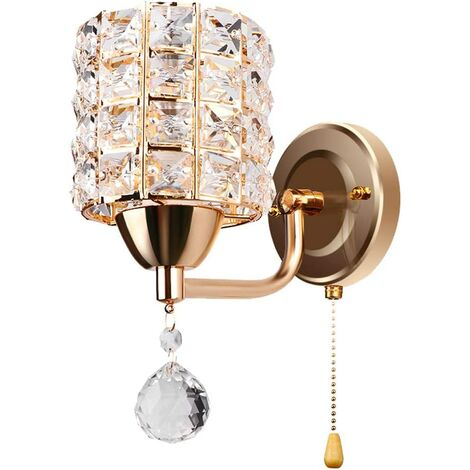 Modern Wall Lamp Crystal Wall Light Elegant Style Creative Cylinder Wall Sconce for Living Room Dining Room Bedroom Gold