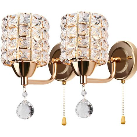 Modern Wall Lamp Crystal Wall Light Elegant Style Creative Cylinder Wall Sconce for Living Room Dining Room Bedroom Gold(2 pack)