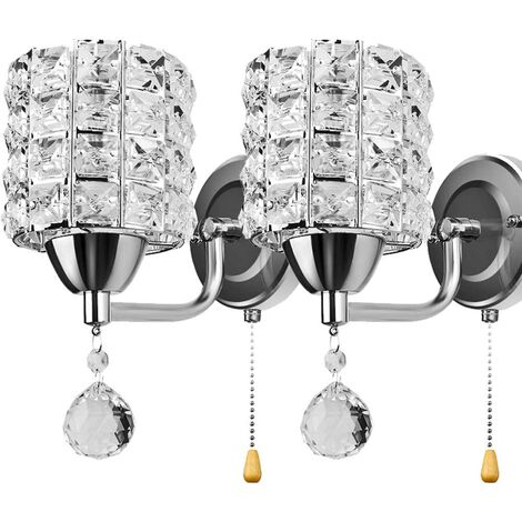 Modern Wall Lamp Crystal Wall Light Elegant Style Creative Cylinder Wall Sconce for Living Room Dining Room Bedroom Silver(2 pack)