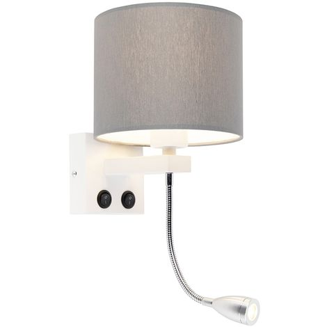 Modern wall lamp white with gray shade - Brescia