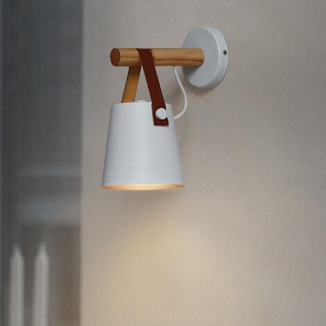 Modern Wall Light Industrial Wall Sconce Metal Wall Lamp Retro Wood Wall Lamp E27 White