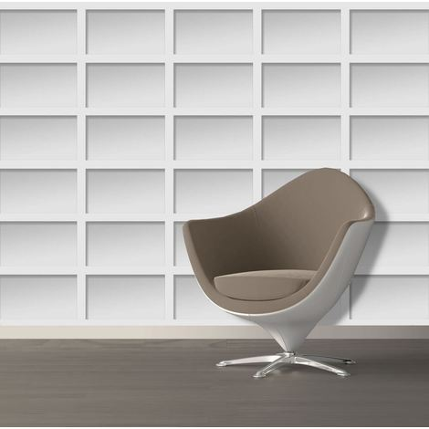 Modern Wallpaper Boxes Rectangle Shapes Futuristic Grey Muriva
