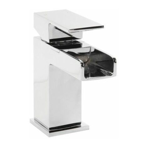 Modern Waterfall Bathroom Mixer Tap Basin Sink Mono Square Chrome Single Lever