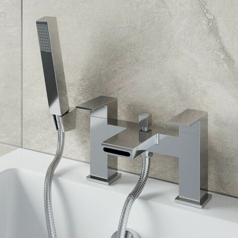 Modern Waterfall Shower Bath Mixer Tap Brass Square Handset Twin Levers Chrome