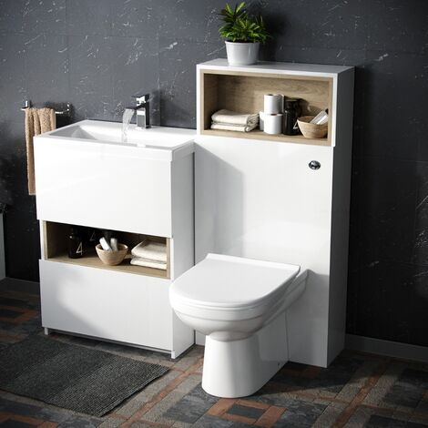 Modern White 610 mm Vanity Cabinet and WC Back To Wall Toilet